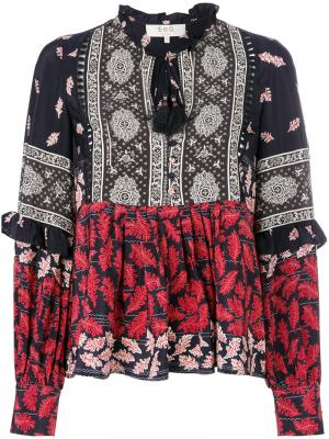 Расклешенная блузка с принтом Sea. Цвет: синий