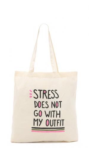 Объемная сумка с короткими ручками надписью «Stress Does Not Go with My Outfit» Zhuu