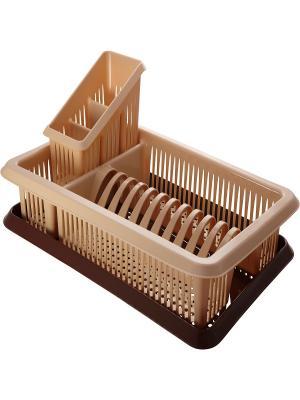 Сушилка для посуды с поддоном Лилия сушилкой столовых приборов бежевый / коричневый Plastic Centre. Цвет: коричневый