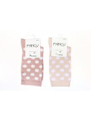 Женские носки 2 пары Fancy socks by Oztas. Цвет: светло-бежевый, бледно-розовый