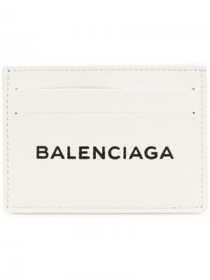 Визитница с принтом логотипа Balenciaga. Цвет: белый