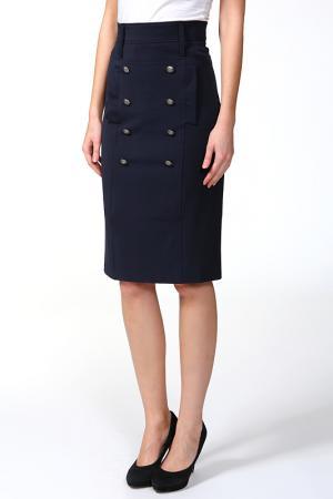 Прилегающая юбка с потайной молнией Arrangee. Цвет: синий