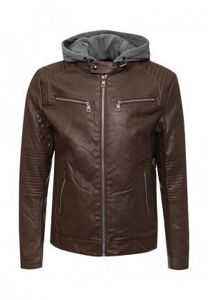 Куртка кожаная Tony Backer. Цвет: коричневый