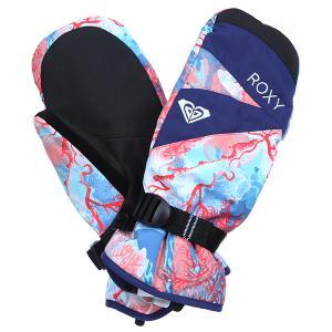 Варежки сноубордические женские  Rx Jetty Mitt Madison Flowers True Roxy. Цвет: мультиколор,черный