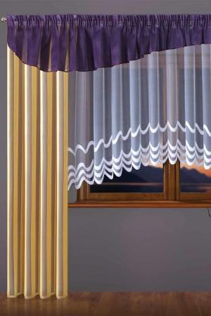 Комплект штор WISAN. Цвет: желтый, фиолетовый