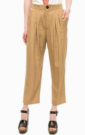Бежевые укороченные брюки Religion. Цвет: бежевый