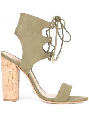 Босоножки на шнуровке Cruz Schutz. Цвет: зелёный