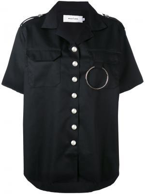 Шелковистая рубашка с короткими рукавами Marquesalmeida Marques'almeida. Цвет: чёрный