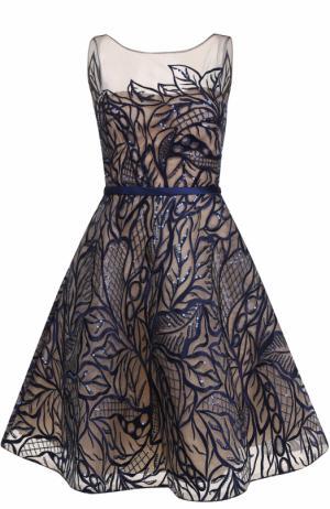 Приталенное платье-миди с вышивкой пайетками Basix Black Label. Цвет: темно-синий