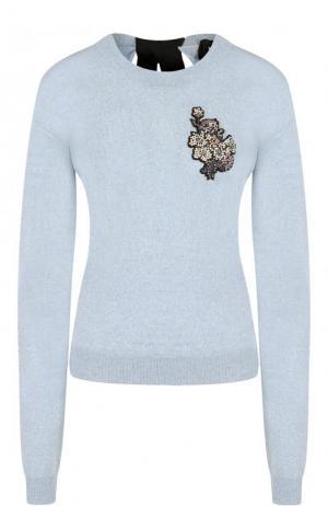 Шерстяной пуловер с контрастным бантом и декоративной отделкой Rochas. Цвет: голубой