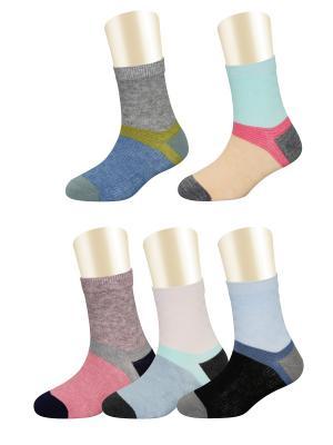 Носки, 5 пар Glamuriki. Цвет: черный, розовый, синий
