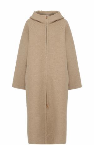 Кашемировое пальто на молнии с поясом The Row. Цвет: бежевый