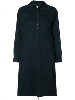Платье-рубашка на молнии Engineered Garments. Цвет: синий