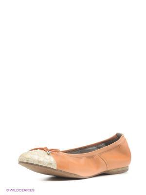 Балетки Tamaris. Цвет: оранжевый, светло-бежевый