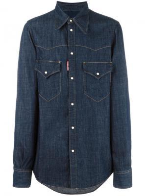 Джинсовая рубашка в стиле Вестерн Dsquared2. Цвет: синий