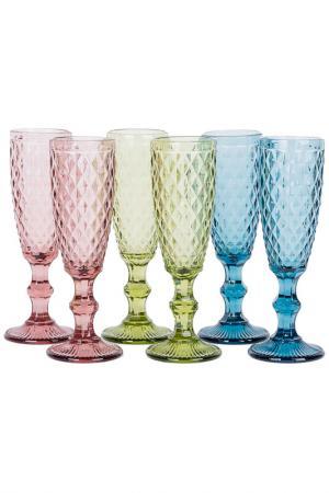Набор бокалов для шампанского EDG. Цвет: мультиколор