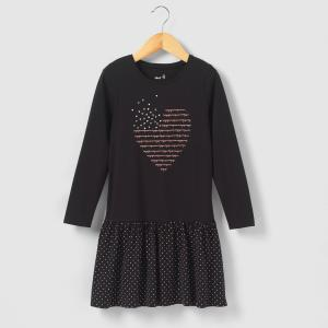 Платье с принтом сердце, 3-12 лет La Redoute Collections. Цвет: черный