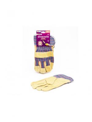 Перчатки усиленные рабочие, натуральная коровья кожа (1,6 мм)+хлопок, двойная прошивка швов. PATERRA. Цвет: коричневый