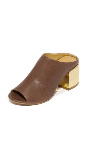 Туфли без задников с открытым мыском MM6. Цвет: хаки