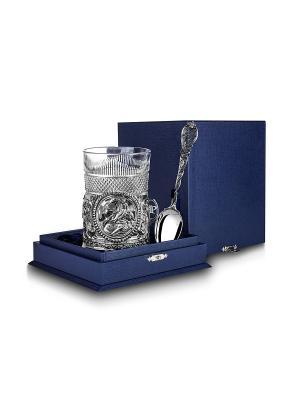 Набор для чая Скорпион (3 предмета) пр.925+футляр АргентА. Цвет: серебристый