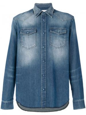 Выбеленная джинсовая рубашка Maison Margiela. Цвет: синий