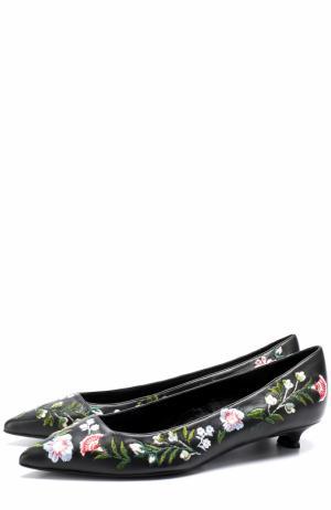 Кожаные туфли с цветочной вышивкой на каблуке kitten heel Erdem. Цвет: черный