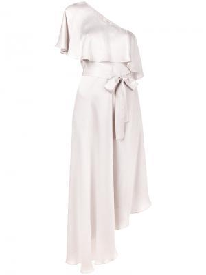 Асимметричное платье на одно плечо Zimmermann. Цвет: розовый и фиолетовый
