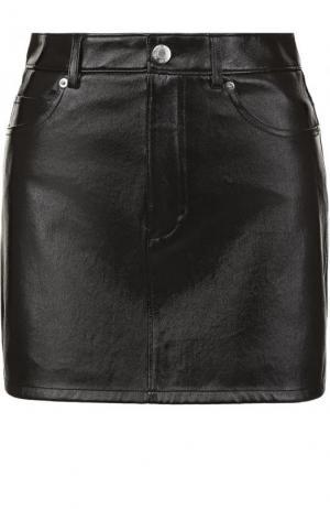 Однотонная кожаная мини-юбка Helmut Lang. Цвет: черный