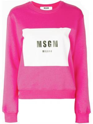 Толстовка с принтом логотипа MSGM. Цвет: розовый и фиолетовый