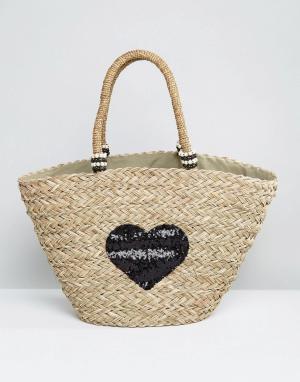 Pia Rossini Большая соломенная сумка с сердцем из пайеток. Цвет: черный