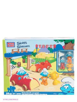 Игровой набор Смурфики Гонки Смурфов MEGA BLOKS. Цвет: голубой, белый