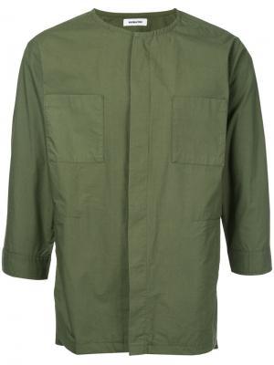 Рубашка с потайной планкой на пуговицах monkey time. Цвет: зелёный