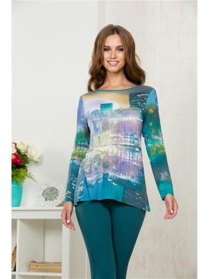 Блузка KEY FASHION. Цвет: бирюзовый, зеленый, сиреневый