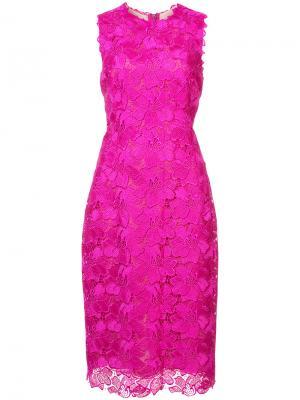 Гпюровое приталенное платье Monique Lhuillier. Цвет: розовый и фиолетовый