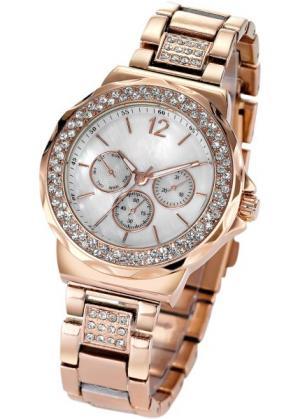 Часы Tiara в дизайне под хронограф (розово-золотистый) bonprix. Цвет: розово-золотистый