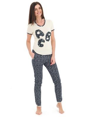 Пижама Tenerezza. Цвет: темно-серый, молочный