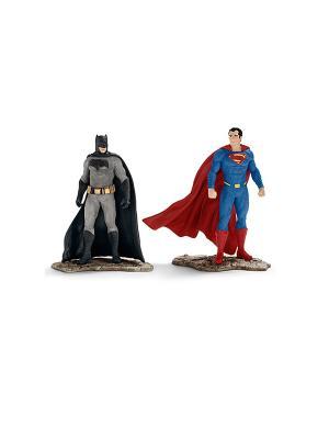 Герой комиксов, Бэтмэн и Супермэн (прикреплёны к опорной подставке) SCHLEICH. Цвет: красный, серый, синий, черный