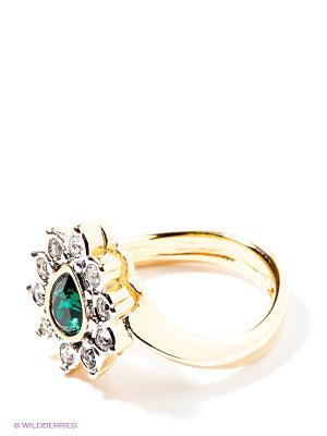 Кольцо Jenavi. Цвет: белый, зеленый, золотистый
