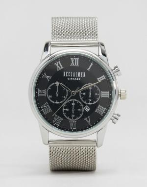 Reclaimed Vintage Серебристые часы с хронографом и сетчатым браслетом. Цвет: серебряный
