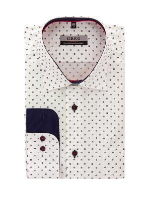 Рубашка GREG. Цвет: белый, синий