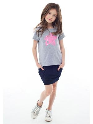 Футболки Juno. Цвет: серый, розовый, светло-серый