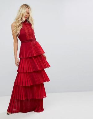 Body Frock Платье макси с кружевным лифом и поясом Bodyfrock. Цвет: красный