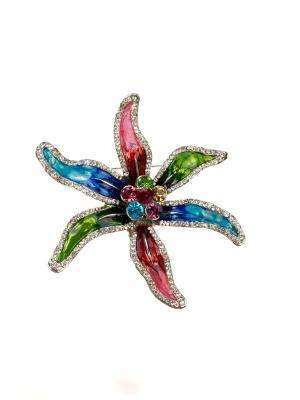 Брошь Bijoux Land. Цвет: серебристый, зеленый, розовый, синий