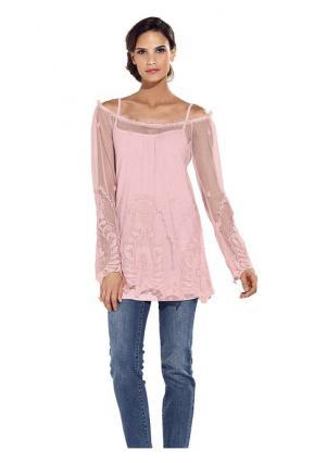 Кружевная туника ASHLEY BROOKE by Heine. Цвет: ванильный, молочно-белый, розовый, черный