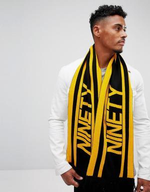 River Island Желтый с черным футбольный шарф в стиле 90-х. Цвет: желтый
