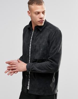 Weekday Замшевая рубашка-куртка Mike. Цвет: серый