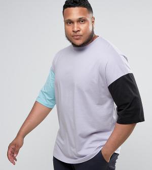 ASOS Свободная футболка из плотного трикотажа с разными рукавами PLUS. Цвет: фиолетовый