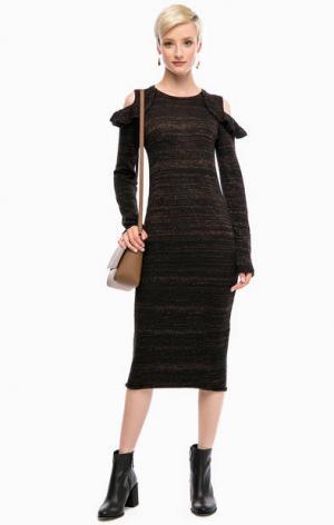 Черное трикотажное платье с длинными рукавами Liu Jo. Цвет: черный