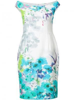 Платье с цветочным узором Black Halo. Цвет: белый