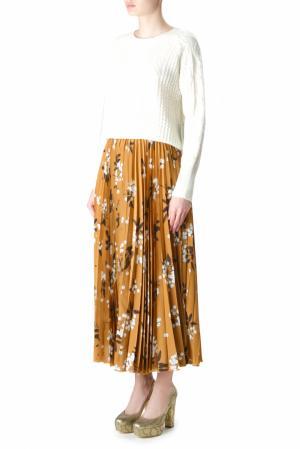 Шелковая плиссированная юбка с принтом Alexander Terekhov. Цвет: коричневый